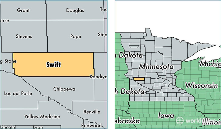 location of Swift county on a map
