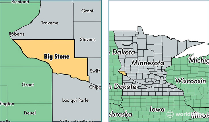 location of Big Stone county on a map