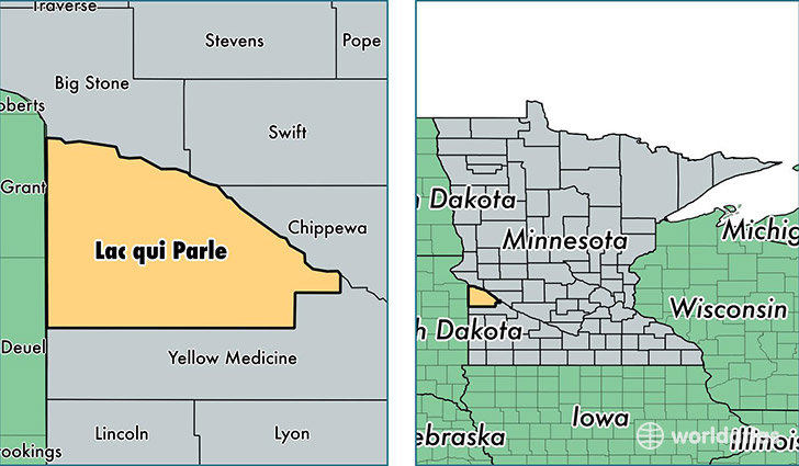 location of Lac Qui Parle county on a map