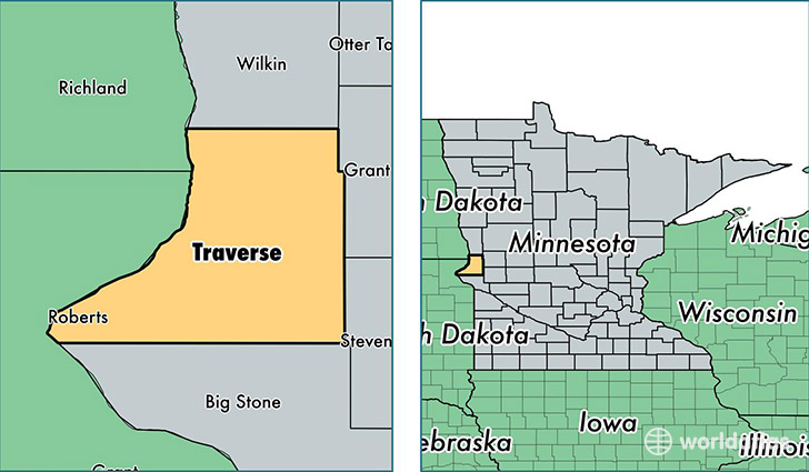 location of Traverse county on a map