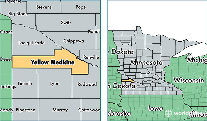 location of Yellow Medicine county on a map