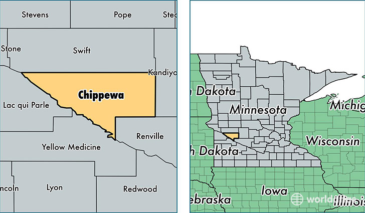 location of Chippewa county on a map