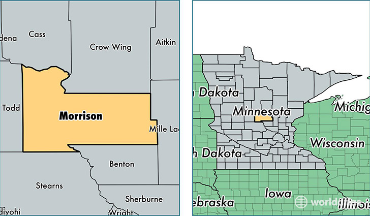 location of Morrison county on a map