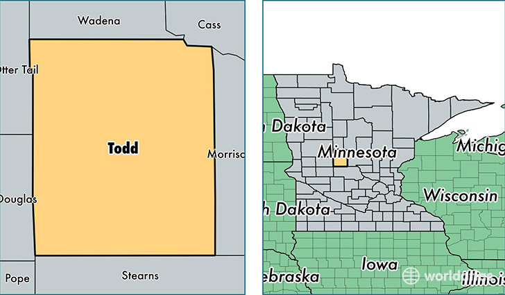 location of Todd county on a map