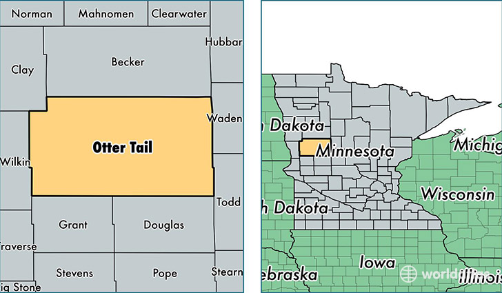location of Otter Tail county on a map