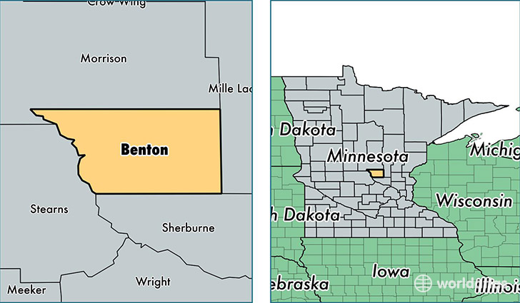 location of Benton county on a map