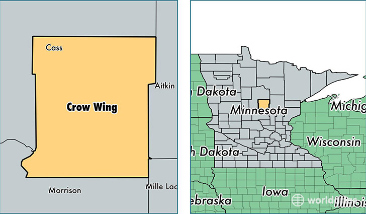 location of Crow Wing county on a map