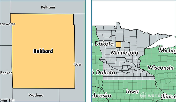 location of Hubbard county on a map