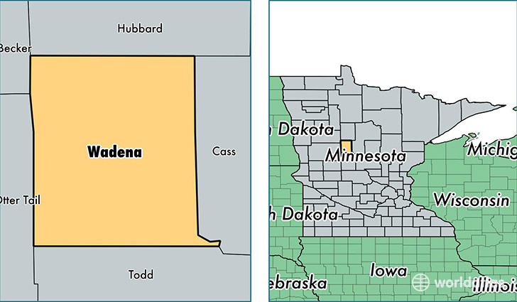 location of Wadena county on a map