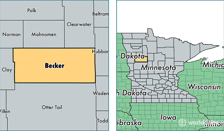 location of Becker county on a map