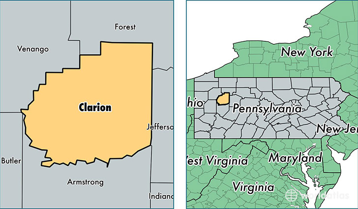location of Clarion county on a map