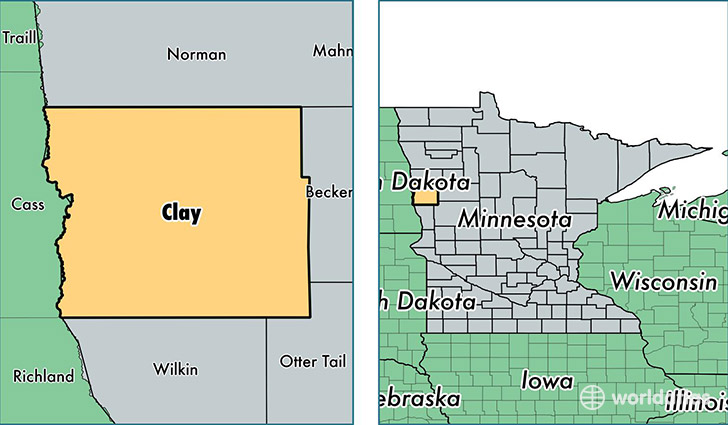 location of Clay county on a map