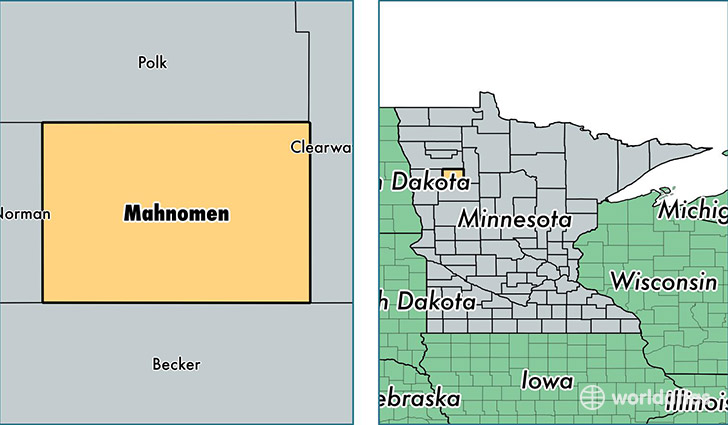 location of Mahnomen county on a map