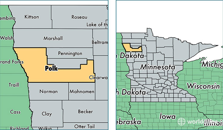 location of Polk county on a map