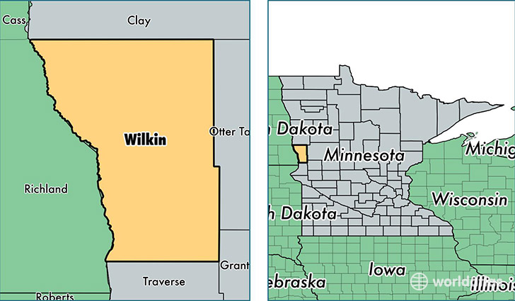 location of Wilkin county on a map