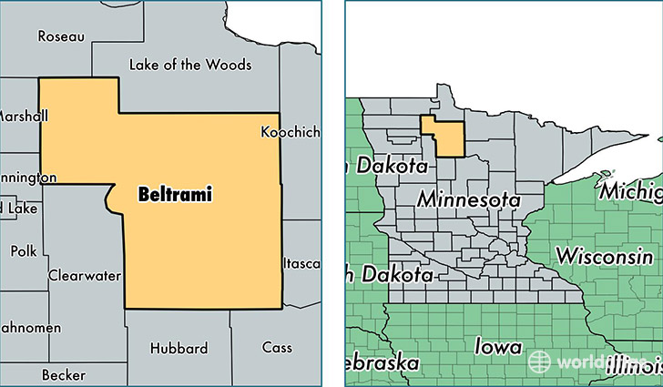 location of Beltrami county on a map