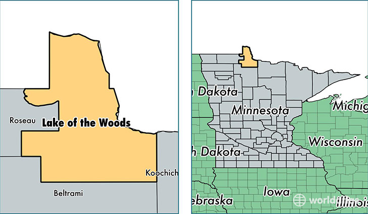 location of Lake of the Woods county on a map