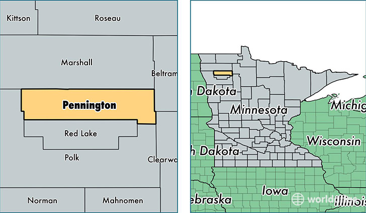 location of Pennington county on a map