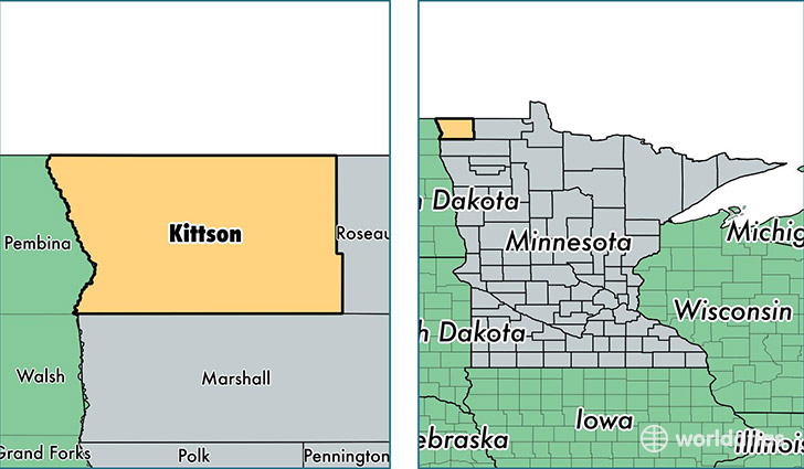 location of Kittson county on a map