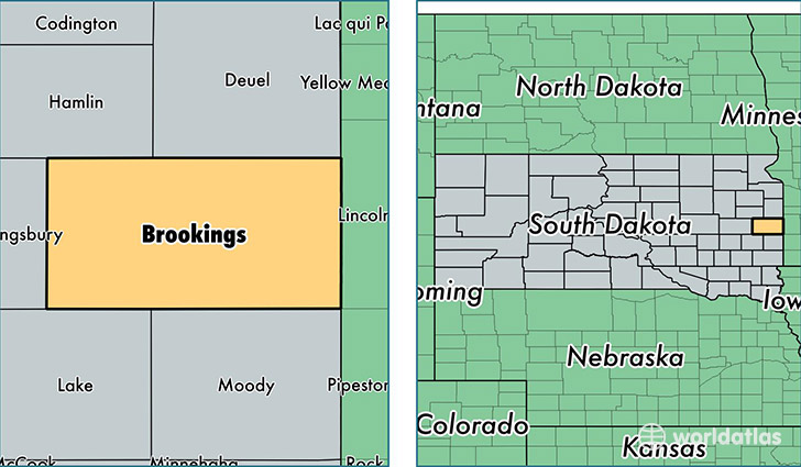 location of Brookings county on a map