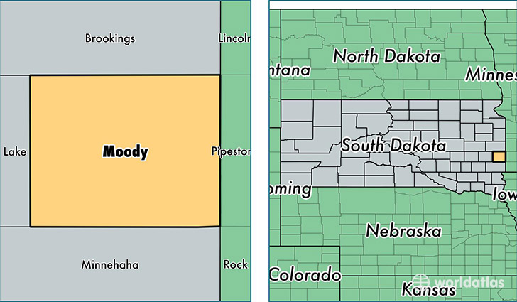 location of Moody county on a map