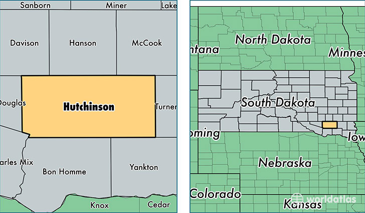 location of Hutchinson county on a map