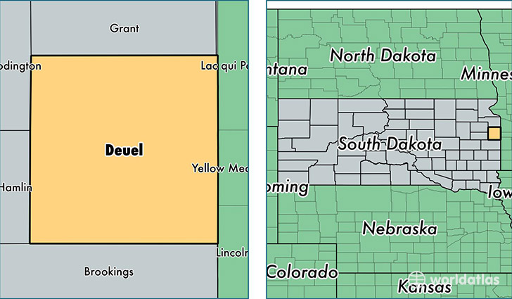location of Deuel county on a map