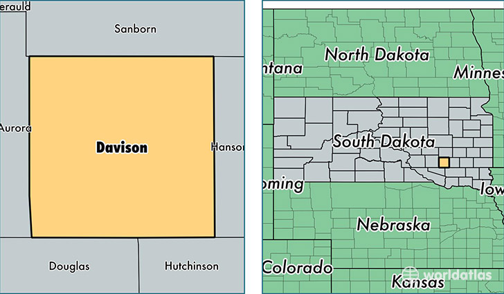 location of Davison county on a map