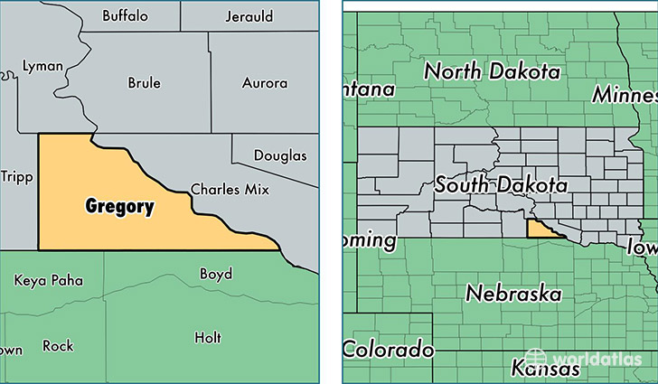 location of Gregory county on a map