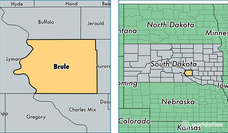 location of Brule county on a map