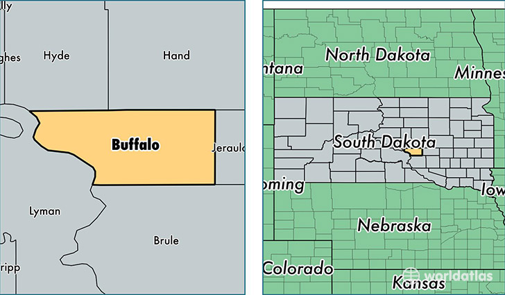 Buffalo County South Dakota Map of Buffalo County SD Where