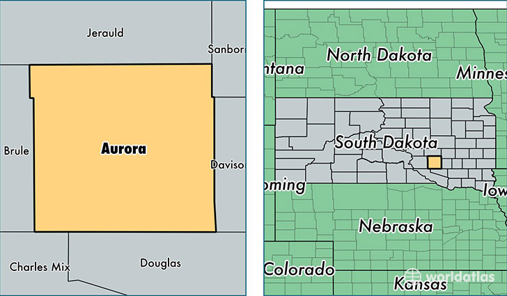 location of Aurora county on a map