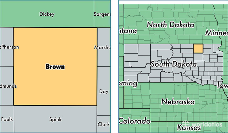 location of Brown county on a map
