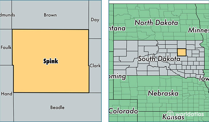 location of Spink county on a map