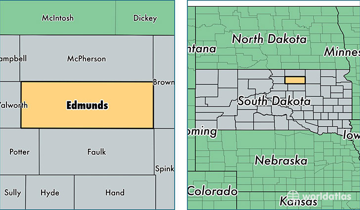 location of Edmunds county on a map