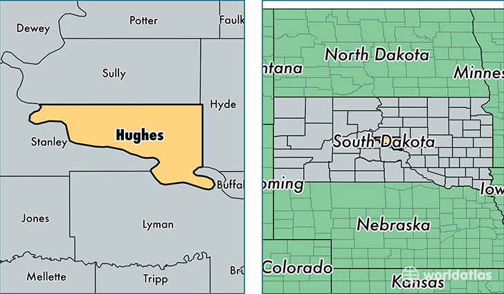 location of Hughes county on a map
