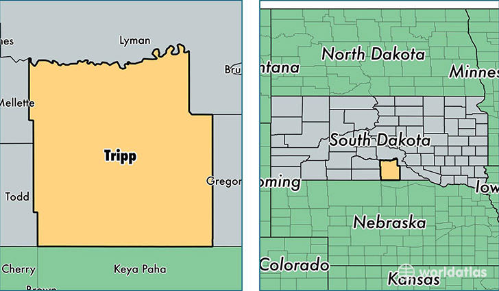 location of Tripp county on a map