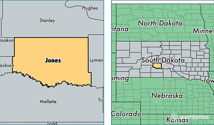 location of Jones county on a map