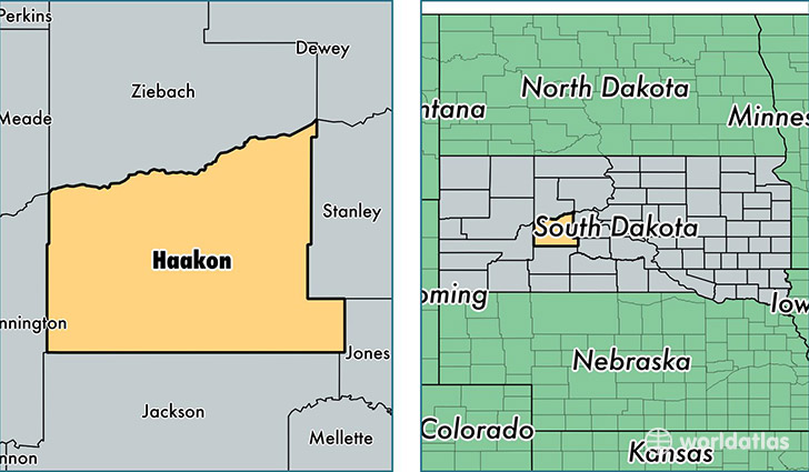 location of Haakon county on a map