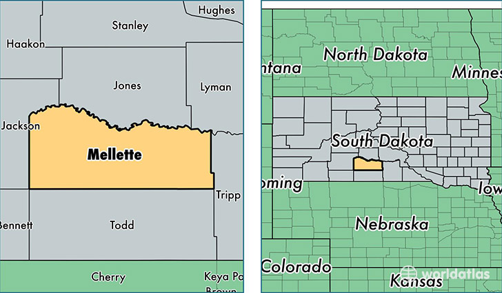 location of Mellette county on a map