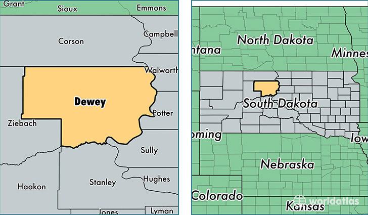 location of Dewey county on a map