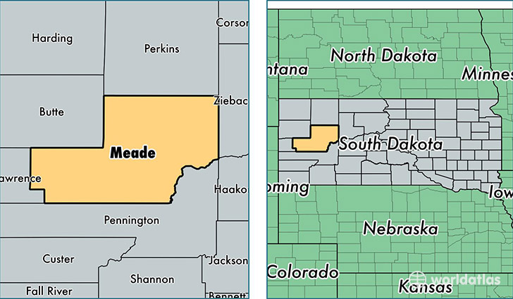 location of Meade county on a map