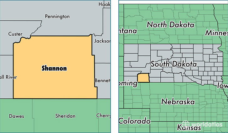 location of Shannon county on a map