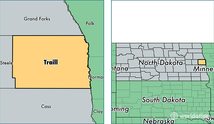 location of Traill county on a map