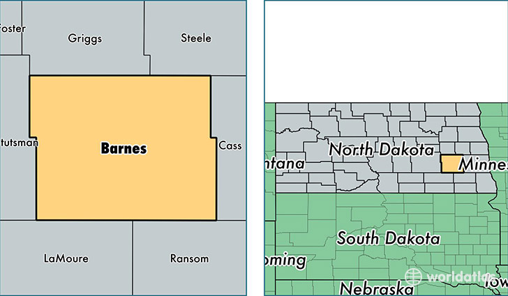 location of Barnes county on a map