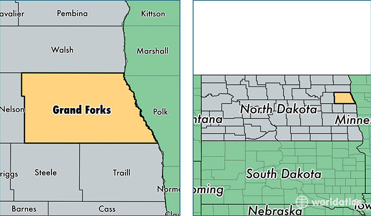 location of Grand Forks county on a map