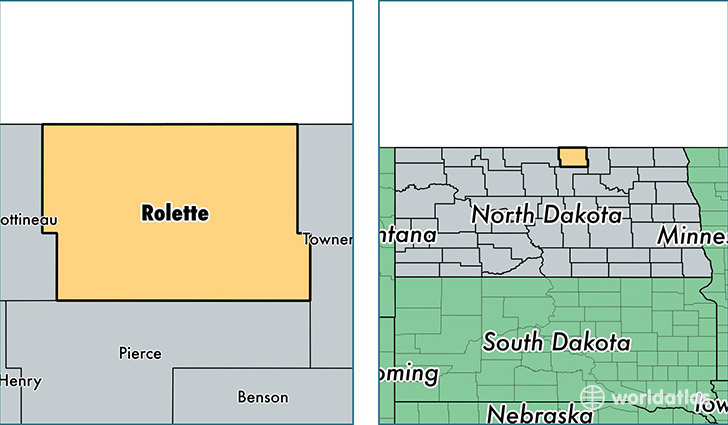 location of Rolette county on a map