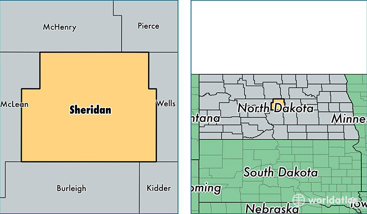 location of Sheridan county on a map