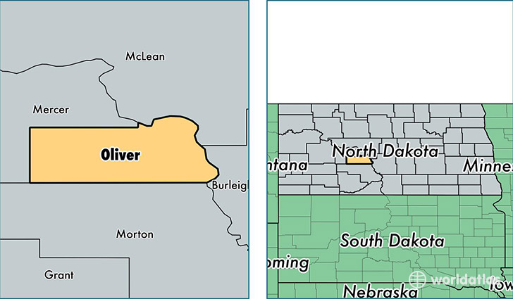 location of Oliver county on a map