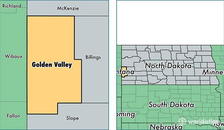 location of Golden Valley county on a map